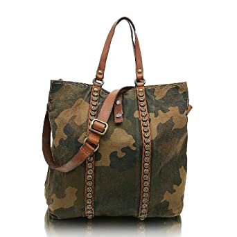 Campomaggi Women's C1455 TEMVLT Shoulder Bag - 2874 militare+cognac
