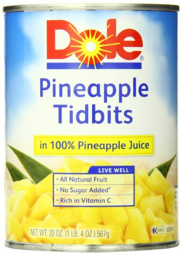Dole Pineapple Tidbits in Juice, 20 Ounce Cans (Pack of 12) (Fruit Cans compare prices)