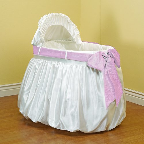 Baby Doll Shantung Bubble And Crushed Belt Bassinet Bedding, Pink front-227098