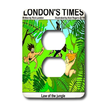Lsp_2170_6 Londons Times Funny Music Cartoons - Law Of The Jungle - Light Switch Covers - 2 Plug Outlet Cover