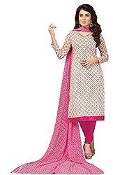 Fabgruh Presents Chanderi Dress Material(Off White,Rani)