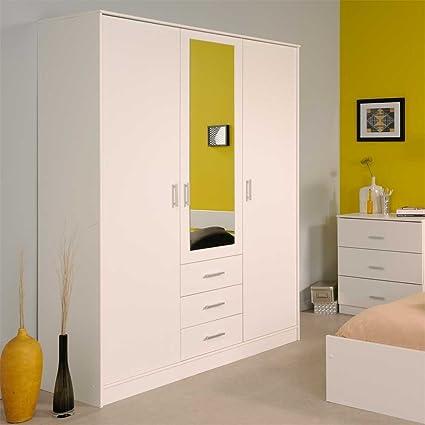 Kleiderschrank mit Spiegel Weiß Pharao24