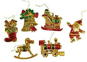 #!Cheap Pack of 192 Train, Santa, Boot, Bell, Rocking Horse & Sleigh Christmas Ornaments