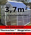 3,7m² ALU Aluminium Gewächshaus Glash...