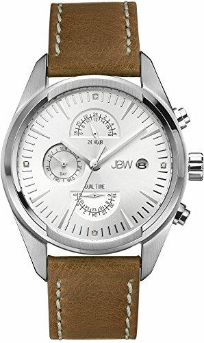 JBW  J6300B - Reloj de cuarzo para hombre, con correa de cuero, color marrón