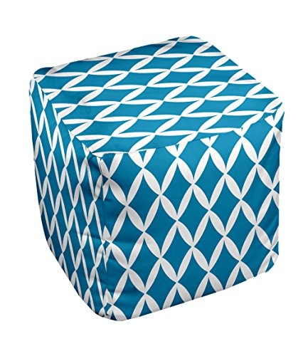 E by design FG-N1-Peacock_White-13 Geometric Pouf