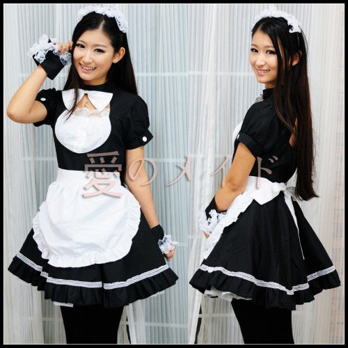 New Japanese Cosplay Lolita French Maid Costume Dress COS32‏