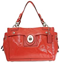 Coach Patent Leather Peyton Carryall Satchel Bag 19756M Coral