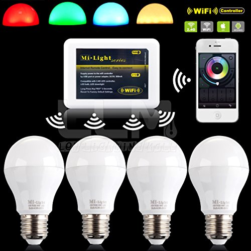 4Pcs Rgbw E27 6W Color Changing Remote Control Ambienc Led Bulb+ Wifi Controller For Ios/Iphone/Ipad Android/Samsung/Lg/Sony