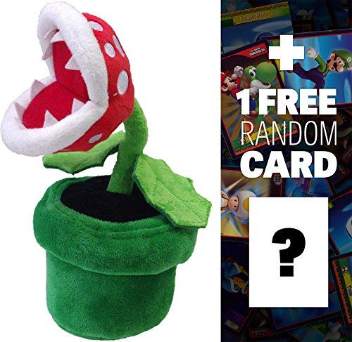 "Piranha Plant: ~8"" Super Mario Bros Mini-Plush + 1 FREE Official Super Mario Bros Fun Card Bundle"