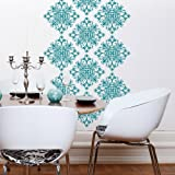 """Byrdie Graphics Scroll Damask Vinyl Wall Decor stickers Qty: 18 - 11"""" x 11"""" Graphics - Turquoise"""