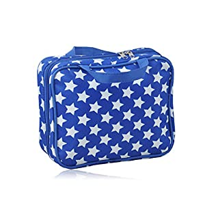 Multi Purpose Outdoor Unisex Canvas Zipper Travel Toiletry Bag Wash Bag Handy Toiletry Bag Travel Accessory Organizer Pouch Bag Cosmetic Case with 2 PVC Transparent Pockets (White Stars)