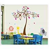 UberLyfe Colorful Tree With Animals Wall Sticker (Wall Covering Area: 148cm X 190cm) - WS-000463