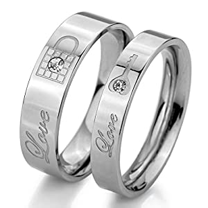 "Men,Women's Wide 5mm 4mm ""Love"" Stainless Steel Bands Ring CZ Silver Lock Key Valentine Love Couples Promise Engagement Wedding from INBLUE Jewelry"