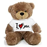 Brown 2 feet Big Teddy Bear wearing a I Love You T-shirt - B00KUE03HQ