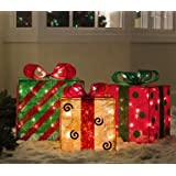 Set of 3 Gold, Green and Red Sisal Gift Boxes Lighted Christmas Yard Art