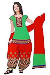 Dharmnandan Fashion Panghat Neon Green color Cotton Woman's Fancya Dress Material