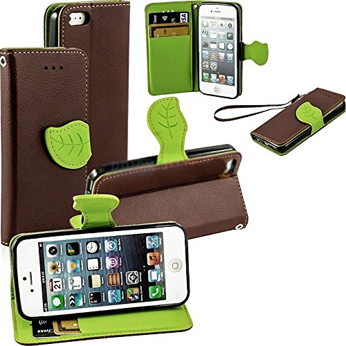 Mylife Brown And Green Leaf Design - Textured Koskin Faux Leather (Card And Id Holder + Magnetic Detachable Closing) Slim Wallet For Iphone 5/5S (5G) 5Th Generation Smartphone By Apple (External Rugged Synthetic Leather With Magnetic Clip + Internal Secur front-333793