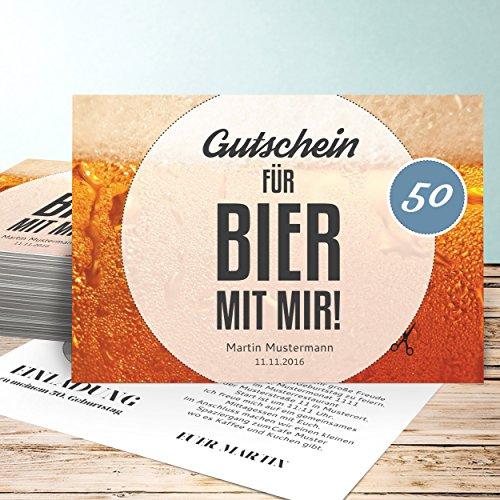 Einladungskarten-50-Geburtstag-Gutschein-Bier-80-Karten-Horizontal-einfach-148x105-inkl-weie-Umschlge-Orange