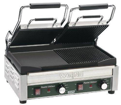 Waring Commercial Wdg300T Dual Grooved Top And Flat Bottom Panini Grill With Timer, 240-Volt