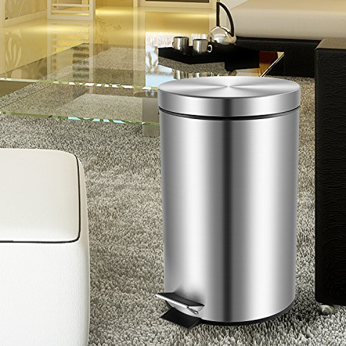 Malmo small round stainless steel trash can with lid and inner bucket 5l 1 3gallon home garden - Small trash can with lid ...