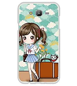 ifasho Cute Girl with bag and Small Cat Back Case Cover for Samsung Galaxy J5