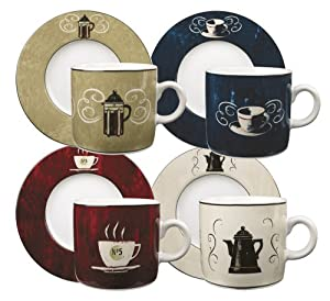 Sakura Coffee Break 8-Piece Demitasse Cups and Saucers, Service for 4 in a Rope Box