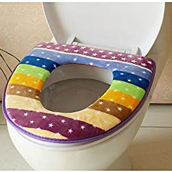 Winter Toilet Seat Warmer Coral fleece Thicken Carpet Toilet Seat Cover Soft Comfortable Baby Potty Seat Overcoat Toilet Case(1pcs) (Purple)