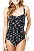 Tummy Control Spotted & Ruched Twist Front Swimsuit [T52-5095-S]