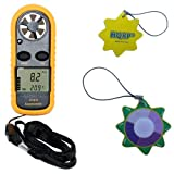HQRP Compact Digital Anemometer Mini Weather Station Wind Meter & Thermometer plus HQRP UV Chain / UV Radiation Health Tester