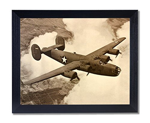 B-24 Liberator Bomber Military Aircraft Jet Airplane Picture Black Framed Art Print