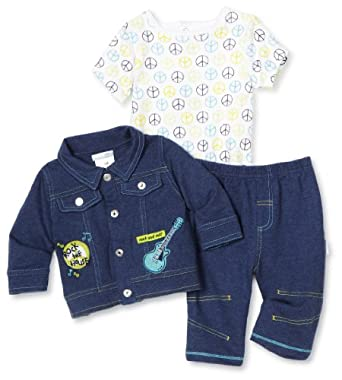 Vitamins Baby-boys Newborn Rock The House 3 Piece Pant Set and Socks, Blue, 3 Months