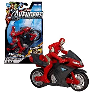"""Hasbro Year 2011 Marvel Avengers Battle Chargers Series """"Pull Back and Release"""" 5 Inch Long Vehicle Set - IRON ASSAULT BIKE with Iron Man Action Figure"""