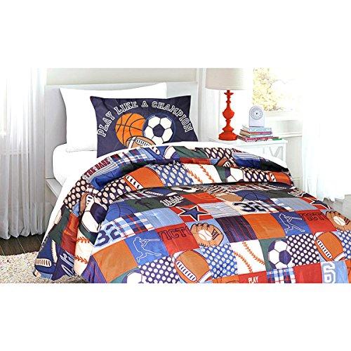 Kids Sport Comforter Set 2 Piece Bedding Set Twin Size Champion Theme for Boys
