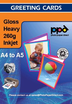 A4 Inkjet gloss Greeting Card Paper Heavy Weight 260g x50 sheets +Envelopes