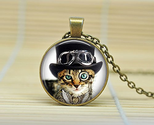 SunShine Day Steampunk Cat Necklace Steampunk Cat Pendan Cat With Top Hat And Monocle And Goggles Jewelry Glass Cabochon Necklace A1892 (Dean Davidson Jewelry compare prices)