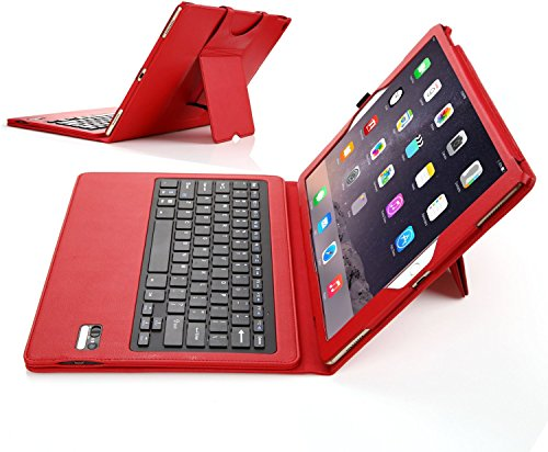 Apple iPad pro ケース IVSOオリジナル,Apple iPad pro専用キーボードカバー 開閉で自動的 PUレザーケース マグネット着脱可能 一体型Bluetoothワイヤレスキーボード(レッド)