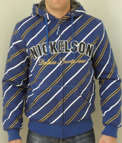Nickelson Mens NMU282 Rhodes Quilt Lined Zipped Hoody Blue Large