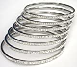 SET OF 7 FOR THE PRICE OF 4 White Crystal Stainless Steel Slip-on Thin Bangle with One Row White Crystals. 3mm Width