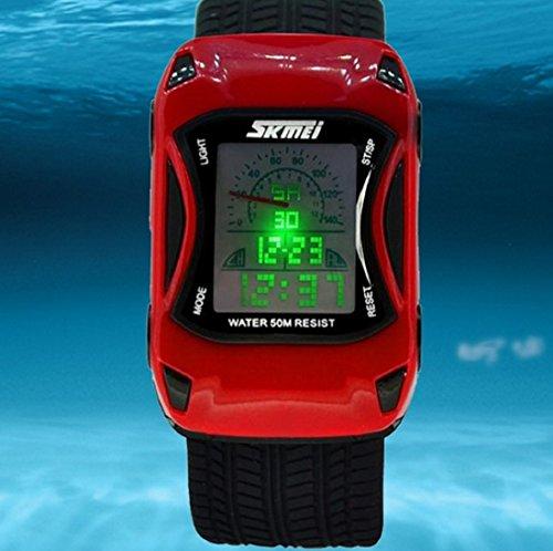 Car Style Led Cartoon Digital Watch Jelly Silicone Swim Sports Wrist Watch For Kids