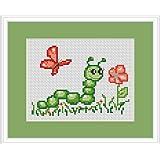 Caterpillar And Butterfly Cross Stitch Kit - Luca S - Beginner 13cm x 9cm