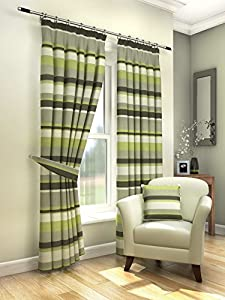 """Modern Fresh Green Cream Striped Curtains Lined Pencil Pleat 90"""" X 90"""" #amas from PCJ SUPPLIES"""
