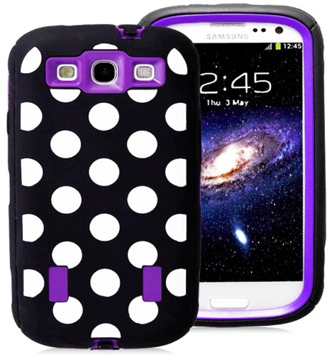 Mylife (Tm) Black And Violet Purple - Polka Dot Armor Series (Durable Built In Screen Protector + Urban Body Armor Glove) Case For Samsung Galaxy S3 Gt-I9300 And Gt-I9305 Touch Phone (Thick Silicone Outer Gel + Tough Rubberized Internal Shell + Mylife (Tm