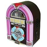 Steepletone Retro Classic Rock Mini - USB MP3 CD LED Mini Jukebox (Dark Cherry)