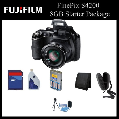 Fujifilm FinePix S4200 Digital Camera (Black) - 16201333 - 8GB Starter Package