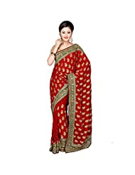 Fancy Dazzling Maroon Colored Embroidered Faux Georgette Saree By Triveni