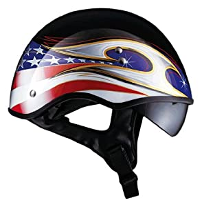 "LS2 Helmets HH566 ""A"" Half Helmet with Colors Graphic and Sun Visor (Gloss Black, Medium)"
