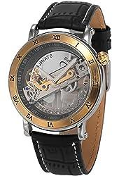 AMPM24 Mens PMW415 Analog Mechanical Skeleton Dial Black Leather Band Wrist Watch