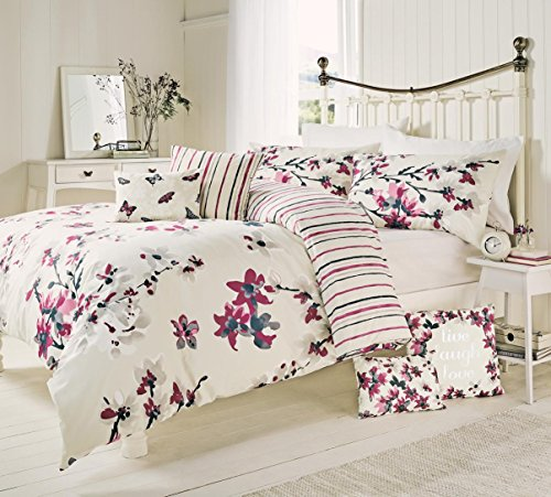 Cranberry Floral Print Cotton Blend Duvet / Quilt Cover Set With Matching Pillowcases - DOUBLE