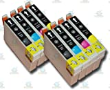 8 Chipped Epson T0711-4 (T0715) Cheetah Compatible Ink Cartridges for Epson Stylus SX215 Printer